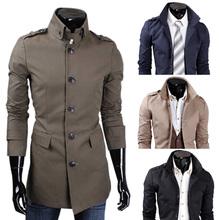 New Fashion Long Coat  Lapels Casual Jacket Windbreaker Coats Slim Fit Men Outerwear(China (Mainland))