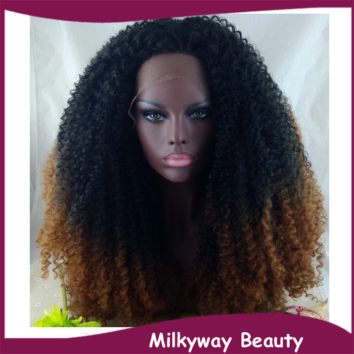 Free Shipping heat resistant fiber black to dark auburn ombre two tone afro kinky curly synthetic lace front wig for black women<br><br>Aliexpress