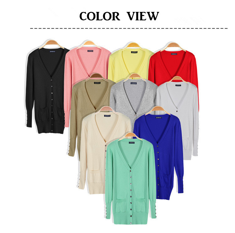 10Colors 2015 Spring Brand New Women Causal Fashion Solid V-neck Full Sleeve Sweaters Women Knitwear Cardigans Candy Color(China (Mainland))