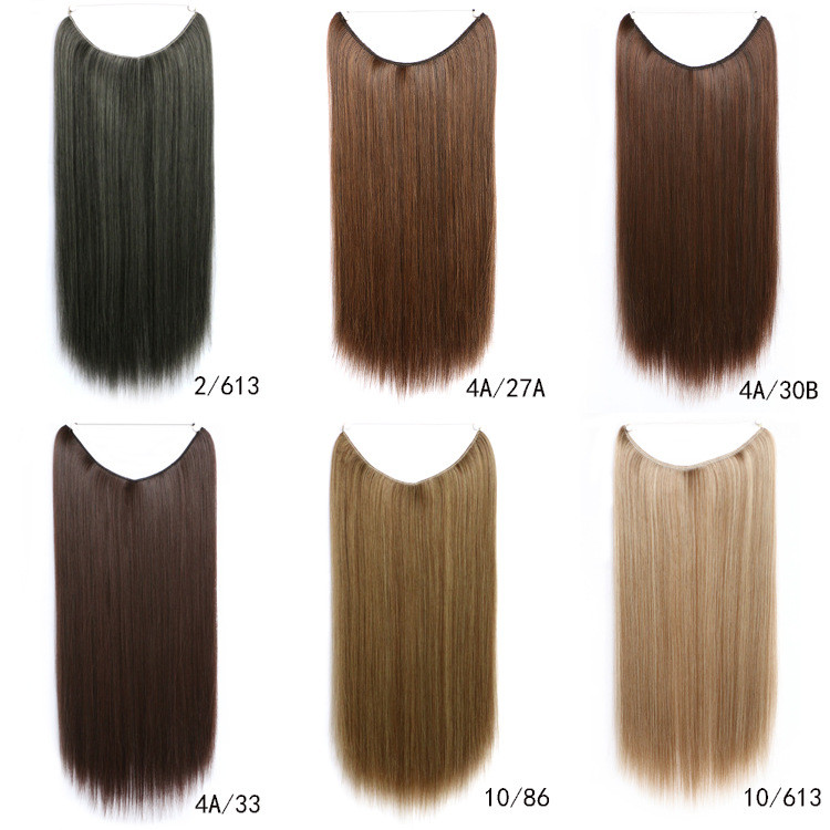 New Design Fishing Line 55CM Long Mix Color Straight Synthetic Hair Extension 16 Colours Hairs Piece 150g Wowen Styling(China (Mainland))