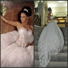 Fashionable Custom made Lace Beaded Ball gown Wedding dresses 2017 China online store Julie vino(China (Mainland))