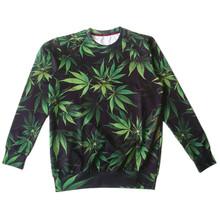 Autumn New Pullovers Hoodies 3D Print Food Pizza Green Weed Print Sweatshirt Women Men Long Sleeve Fleece Warm Crewneck Clothes(China (Mainland))
