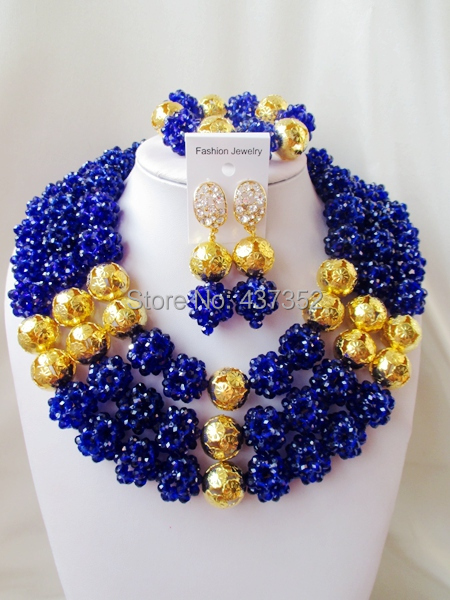 Luxury Royal Blue crystal ball women necklaces costume jewellry nigerian wedding african beads jewelry set ABC740 - Alisa's Jewelry DIY Store store