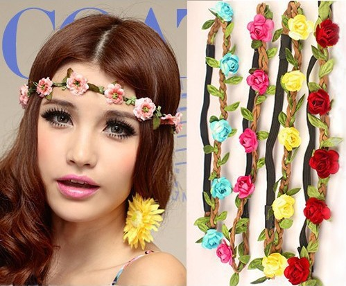 1PC New Hot Fashion Wedding Bohemian Headband HAIRBANDS ROSE Flower Braided Leather Elastic Headwrap Hair Ornaments Drop Free(China (Mainland))