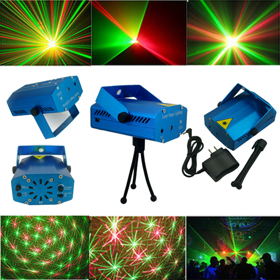 Blue Mini LED Laser Projector Red & Green DJ Disco Stage Light Xmas Party Laser Lighting Show Free Shipping(China (Mainland))