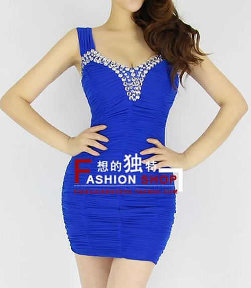 2013 New Spring Spaghetti Crystal Sheath Mini Dress Sexy Woman Evening Dress 4 Colors Available Retail+Dropshipping