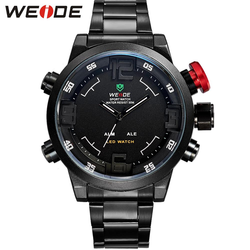 WEIDE Men Quartz Watch Military Sports Watches LED Digital Relogio Masculino Multifunctional Alarm Date Stainless WristWatches<br><br>Aliexpress