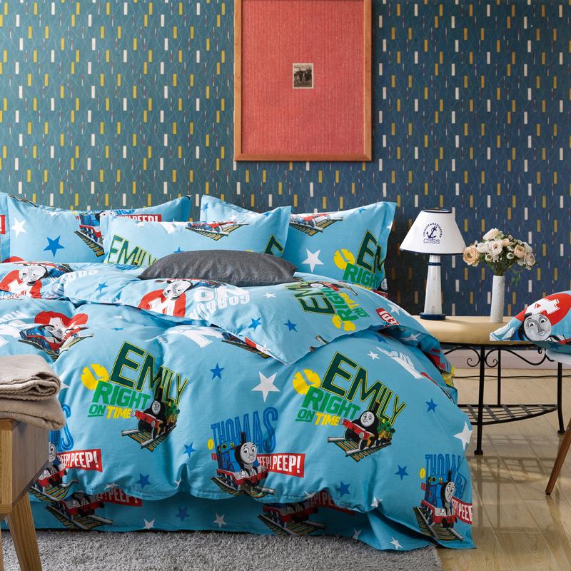 kids children cartoon anime girls Thomas bedding sets queen blue bed linen bedroom sets duvet Cover(China (Mainland))