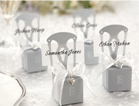 Silver Chair Candy Boxes and Card Holder With Organza Bow and pendant wedding candy box guest gift favor box(China (Mainland))