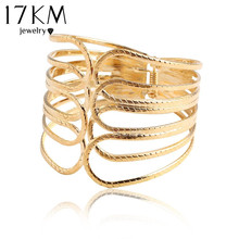17KM New Design Gold Color Alloy Simple Hollow Out Wide Bracelet Jewelry Wide Bracelet & Bangles For Women(China (Mainland))