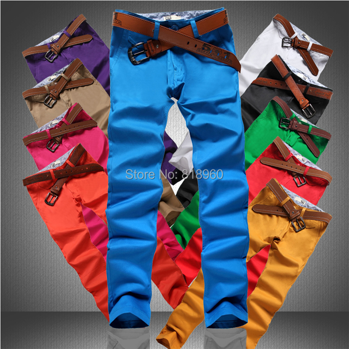 Free shipping Mens Skinny Trousers England Style Fashion Cotton men casual Pants Pure Color Colorful man Jeans 10 Colors(China (Mainland))