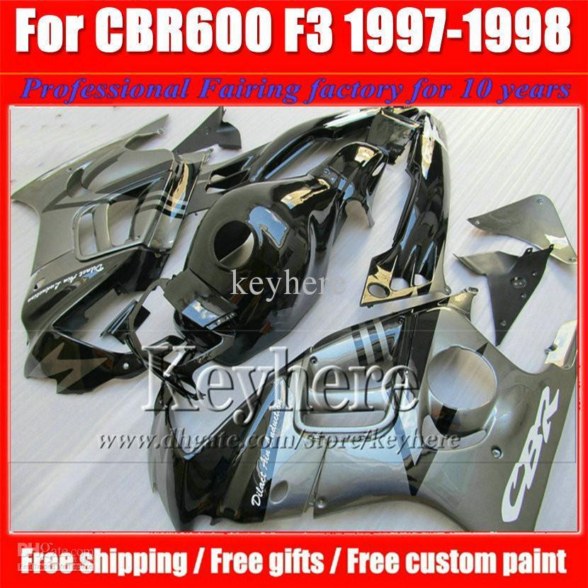 ABS low price gray black fairing kit for Honda CBR600 97 98 CBR 600 F3 1997 1998 fairings custom ZR40(China (Mainland))