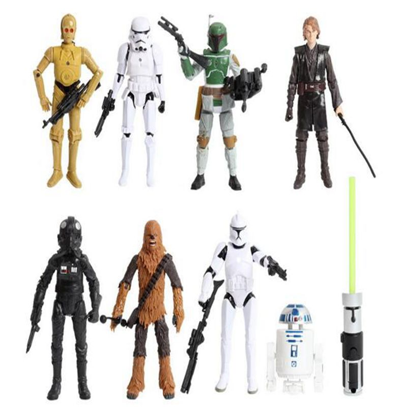 New 8pcs/lot Star Wars toys R2 Jedi Chewbacca Etc Clone Star Wars 7 PVC Action Figure collection Anime toys for kids gifts(China (Mainland))