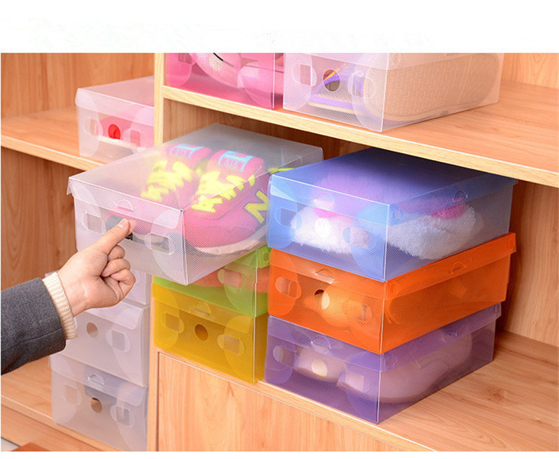 6 pcs Thick Transparent Colored Plastic Clamshell Shoebox Stackable Foldable Organizer Box Bulk with a lid Storage Boxes Drawer(China (Mainland))