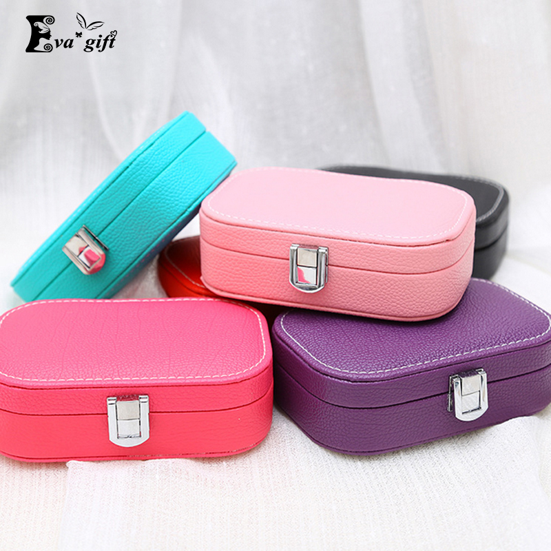 Colorful mini Jewelry Organizer box leather jewelry box princess dressing birthday gift Earring&Ring collection travel Casket(China (Mainland))