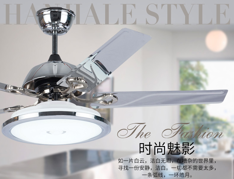 Buy led fan light ceiling fan modern minimalist fashion restaurant stainless - Dining room ceiling fans designs ...