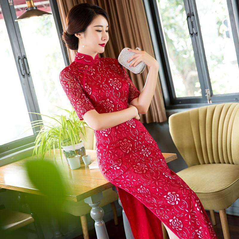 สีแดงวินเทจสตรีลูกไม้ยาวCheongsamจีนแฟชั่นสไตล์การแต่งกายที่สวยงามQipaoขนาดSml XL XXL XXXL F101013 ถูก