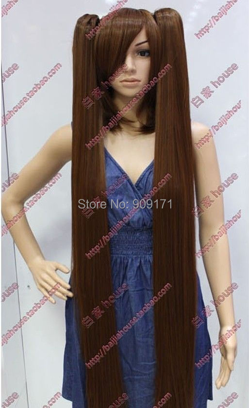 free Shipping  ******Cos brown short straight cosplay full wig + two long pigtail <br><br>Aliexpress