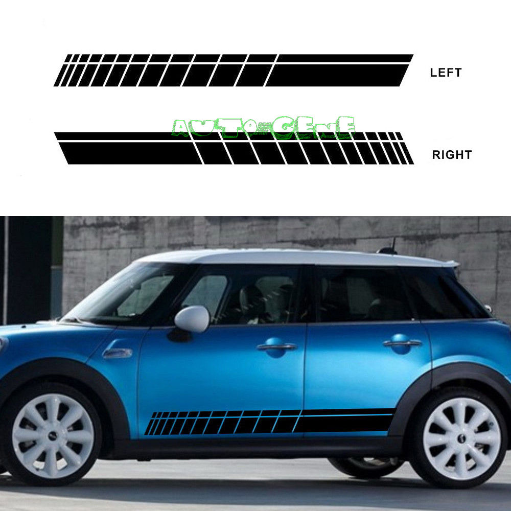 Car side body sticker design - 2x Racing Stripes For Mini Cooper Vinyl Decal Body Side Skirt Stickers L R
