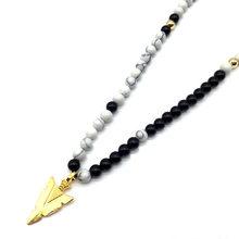 NAIQUBE الأزياء السهم الرجال النساء قلادة بتميمة مرساة قلادة خرز قلادة سلسلة الفاخرة قلادة مجوهرات هدية للرجال(China)