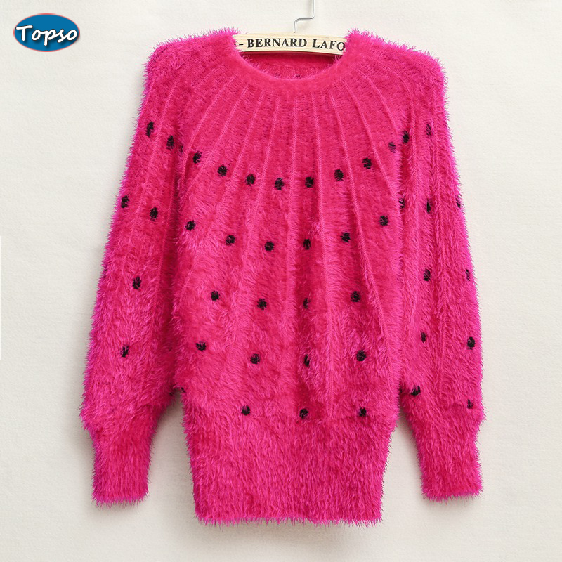 2016 Women European Style Pullover Knitted Sweaters Rose Red Dots Lining Elegant Loose Knitwear Womens Winter Plus Size Sweater(China (Mainland))