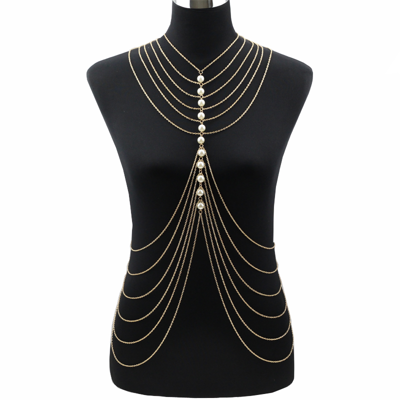 Multi layer body chain Women Necklaces&Pendants Layer Body Necklace 2017 Punk Sexy Statement Jewelry