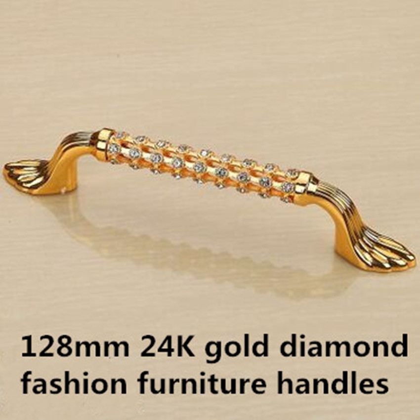 128mm fashion deluxe glass diamond furniture decoration handles crystal wine cabiner  pull gold dresser wardrobe door handle 5