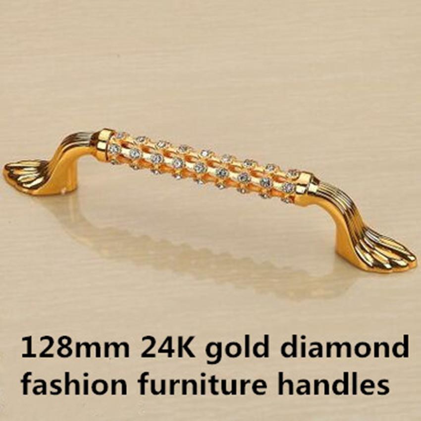 "128mm fashion deluxe glass diamond furniture decoration handles crystal wine cabinet pull gold dresser wardrobe door handle 5""(China (Mainland))"