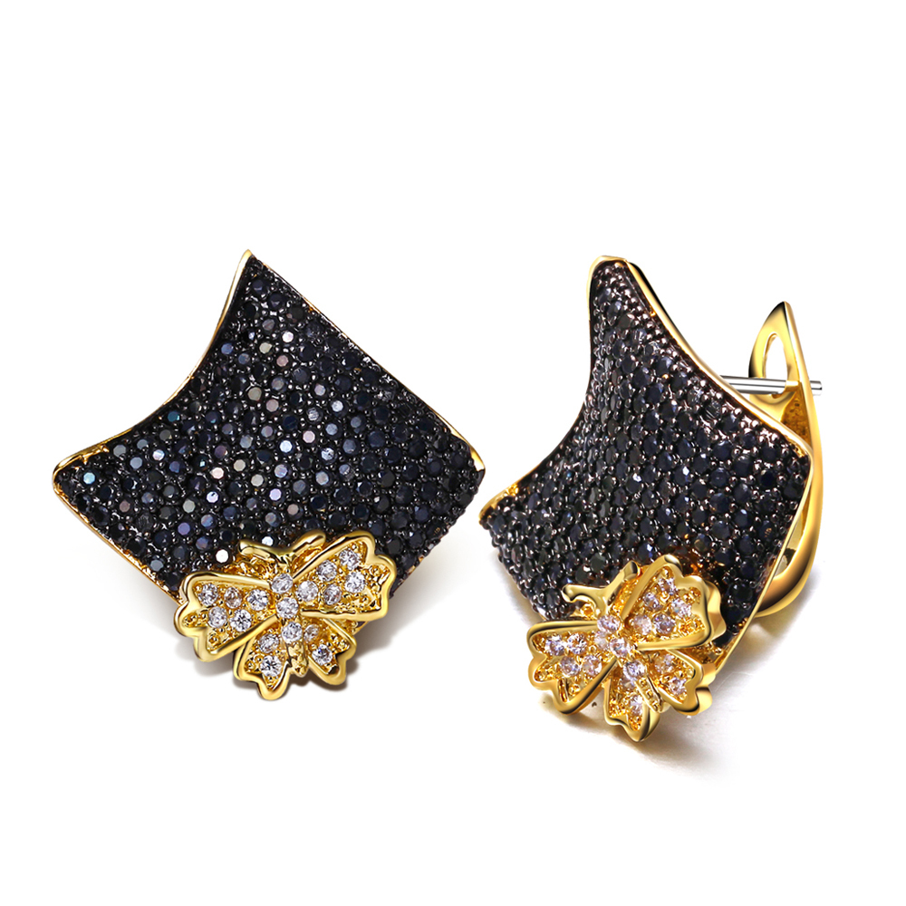 Butterfly square stud earrings 2016 new Designer jewelry post earring with AAA cubic zirconia 18k gold plate(China (Mainland))