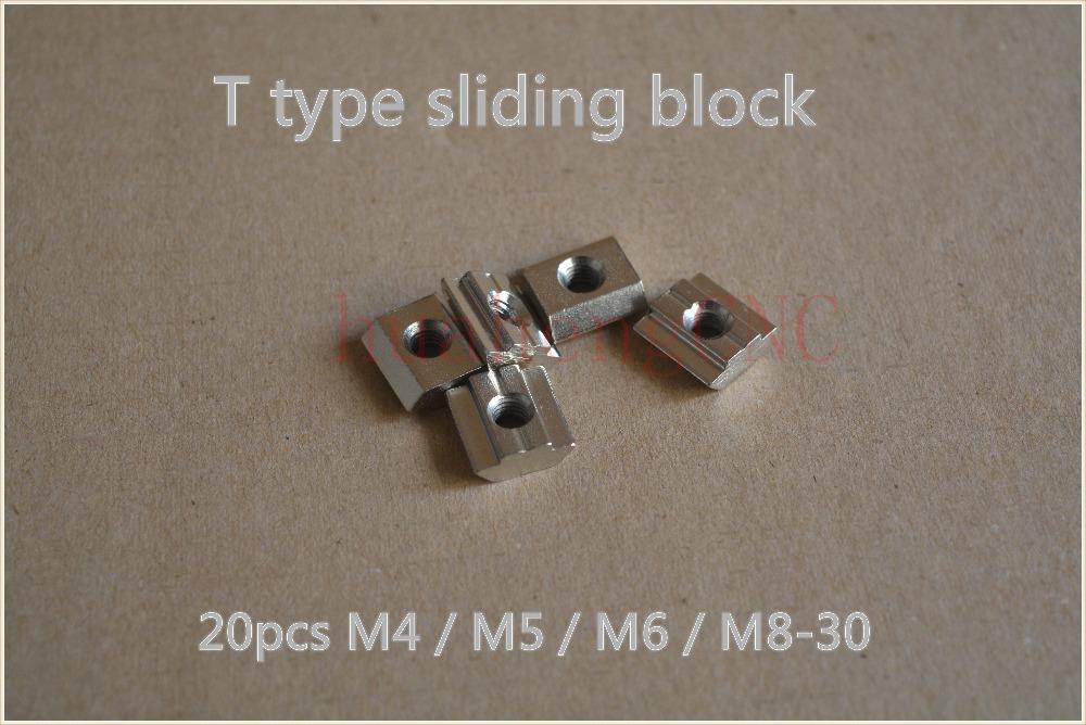 Гаджет  20pcs T sliding nut block M8 slide t nut for 30 series aluminum profile slot 8mm cnc part None Аппаратные средства