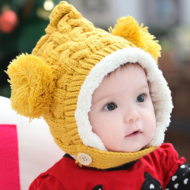 Winter Warm Knitted Kids Hats Baby Hats Crochet Hats Thicken For Girls Boy Toddler Beanie Hat Caps Earmuffs Ball W8(China (Mainland))