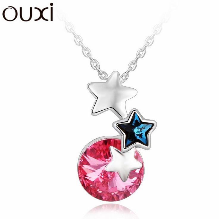 Best Quality Women Necklace Pendant Jewelry Stars Jewelery Made with Swarovski Elements Crystals from Swarovski OUXI NLA178(China (Mainland))