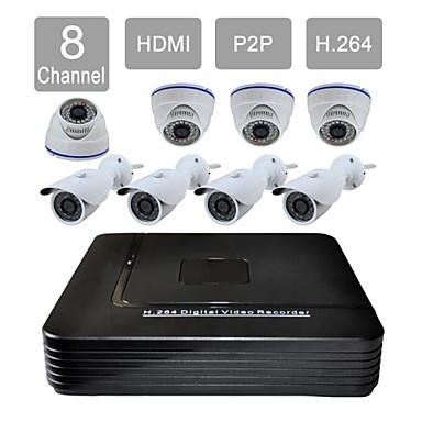 FKH 8 Channel HDMI 1TB HDD CCTV DVR Outdoor / Indoor Vision Security Camera System Kit F276+808CA08VG - fan qinhai's store
