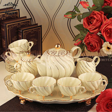 coffee tea set European porcelain ivory coffee tea set Europe fashion wedding gifts drinkware 16pcs free shipping
