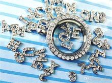 Wholesale - 52pcs letter A~Z Alphabet Initial floating charm for Glass Locket Necklaces Valentine gift(China (Mainland))