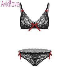 Avidlove Brand Bra Briefs Sets Sexy Lingerie Underwear Women 3/4 Cup Lace Bra Panties Thong Nightwear Sexy Bra for women S-XXL(China (Mainland))