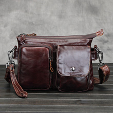 Buy High Men's Messenger Bag Male Genuine Cowhide Leather Crossbody Shoulder Bags Vintage Design Retro Briefcase Small Bag for $28.67 in AliExpress store