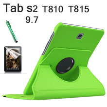 360 Rotation PU Leather cover case For Samsung Galaxy Tab S2 9.7 T810 T815 flip cases with stand function Tablet case+tylus+film