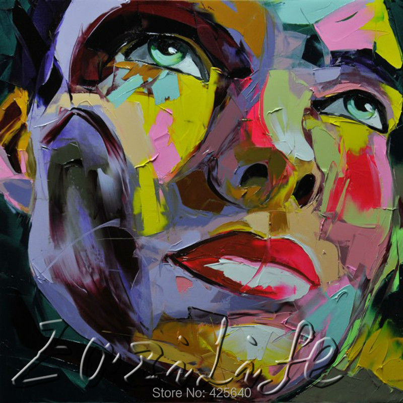 Buy Palette knife painting portrait Palette knife Face Oil painting Impasto figure on canvas Hand painted Francoise Nielly 11 cheap