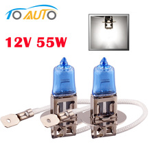 Buy 2pcs halogen h3 bulb 6000k 12v 55w Super Bright White car head lights fog light bulb lamp car styling parking for $1.35 in AliExpress store