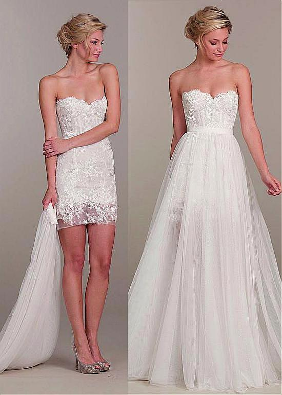 cecelle 2016 new short mini 2 in 1 sheath lace tulle wedding dresses