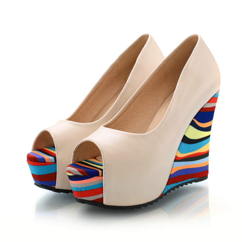 Summer New Size 34-39 Women Pump Open Toe Shoes Solid  Rainbow Bottom Wedges High-Heel Soft Leather Women Shoes<br><br>Aliexpress