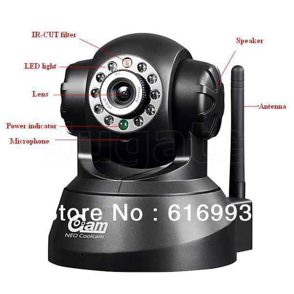 Wireless Webcam IP Camera CCTV With IR Night Vision and Remote Pan Professional Software CM1001(China (Mainland))