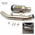 motorcycle muffler stainless steel real carbon fiber Akrapovic exhaust pipe middle pipe for KAWASAKI Z800 2013