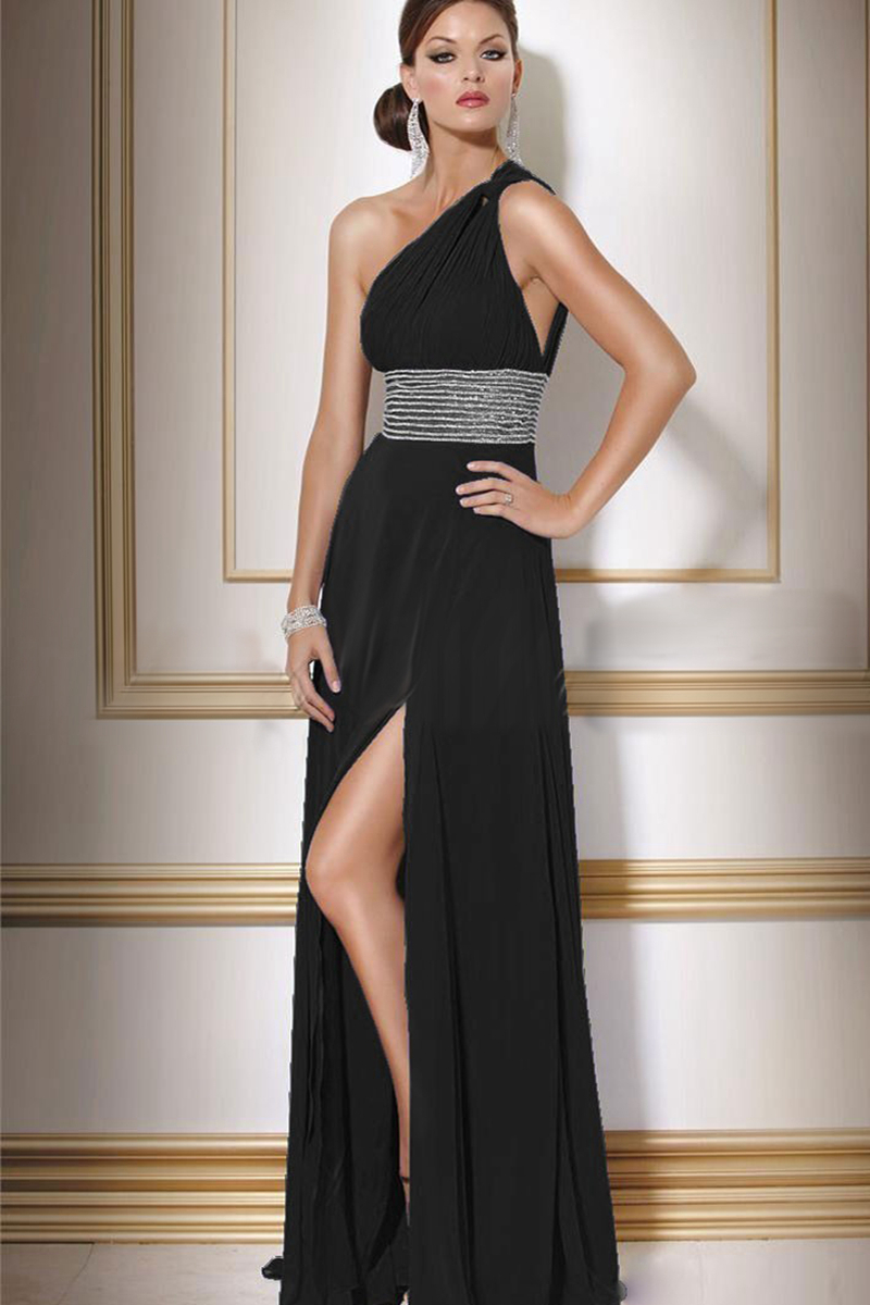 Black one shoulder sleeveless side slit chiffon wedding for One shoulder dress for wedding guest