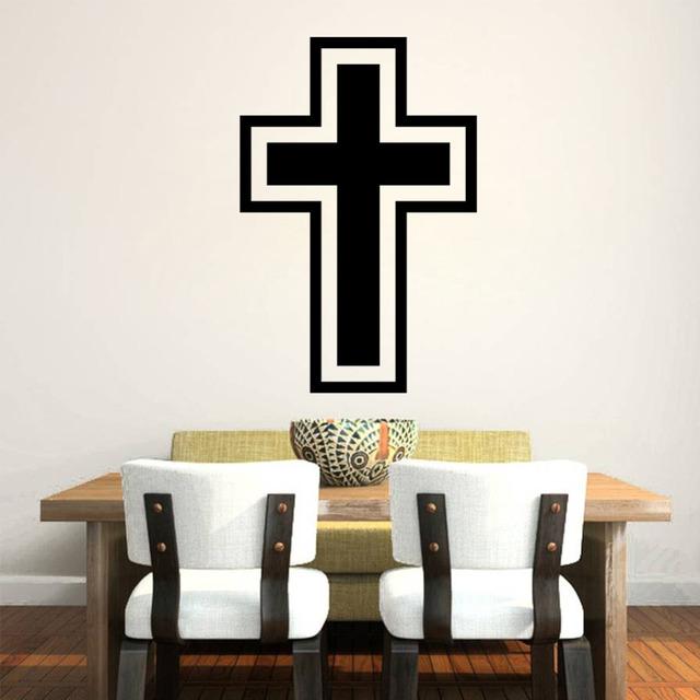 Стикер стены 2015 мода крест христианский винила номер термоаппликации наклейка иисус бог съемный пвх домашнего декора надписи DIY