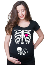 2015 Maternity Pregnancy funny xray skeleton bany print clothes for pregnant women Maternity T-Shirt European big size