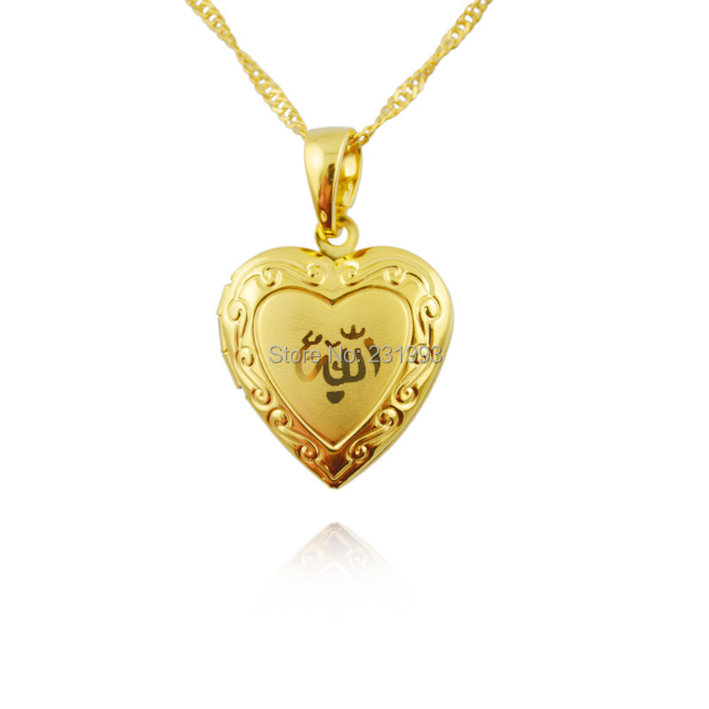 Heart allah pendant Jewelry For Women 18K Gold Plated Muslim heart allah Pendant Necklace With Chain Necklaces(China (Mainland))