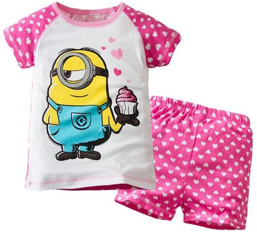 New summer Baby Sleepwears Despicable me Suits Boys minion Pajamas Children Pyjamas Girls Cartoon Pijamas Kids Clothing set(China (Mainland))