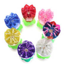 Hot Sale Beautiful Musical Lotus Flower Happy Birthday Party Gift Rotating Lights Decoration 14 Candles Lamp (China (Mainland))